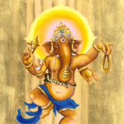 Ganesha dancing with mouse vehicle