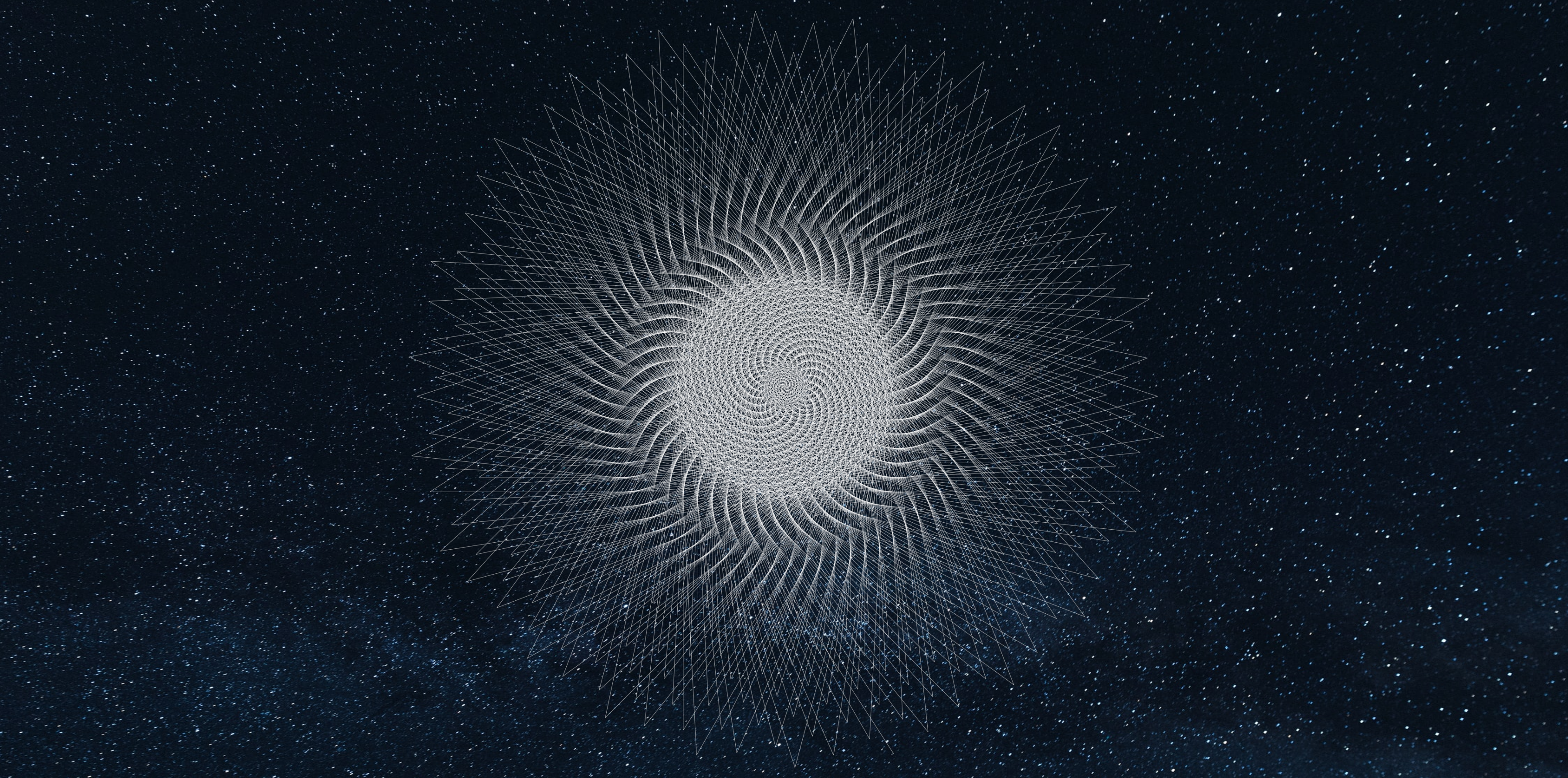 white geometric pattern against starry sky backgound
